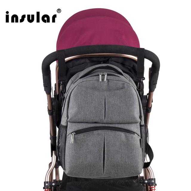 Insular envío color sólido bebé bolsa de mamá bolsa de pañales mochila multifuncional mochila impermeable de pañales mochila envío libre