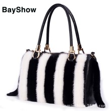Winter Fashion Bag Real Leather Bags Tassel Bag Women Messenger Bag Women's Handbag Lady Pretty Cute Real Mink Fur Handbag F647
