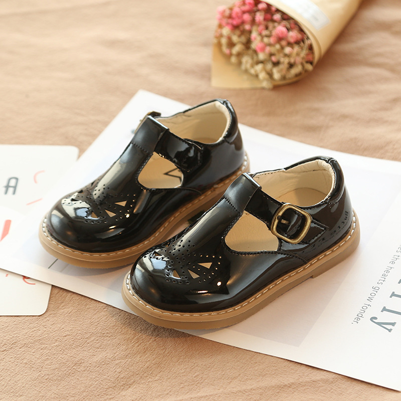 Kids Spring Butterfly Cut-outs Leather Shoes Boys Girls T-strap Hook & Loop Baby Children Non-slip Shcool 21-30
