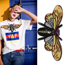 hot deal buy 5pcs sequin big butterfly bee patch for clothing sew on patches beading applique clothes shoes bags decoration patch diy apparel