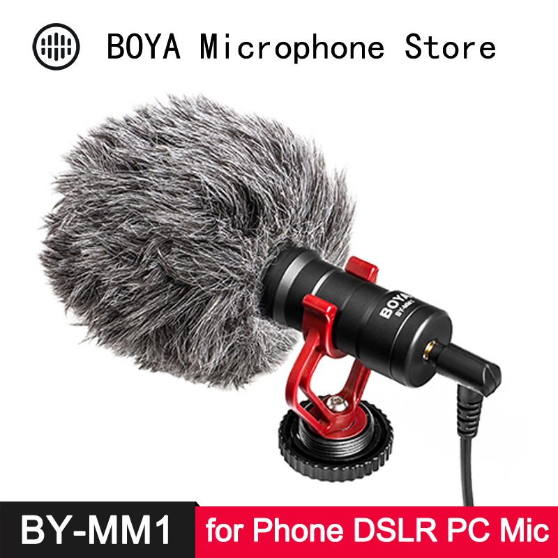 BOYA BY-MM1 Cardioid Compact Universal Microphone For Smartphone DSLR Camera Camcorder Audio Recorder PC Audio Video Recording
