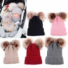 Коллекция года, модные детские шапки для новорожденных, милые зимние шапки с меховыми помпонами, вязаные шерстяные шапки для девочек и мальчиков