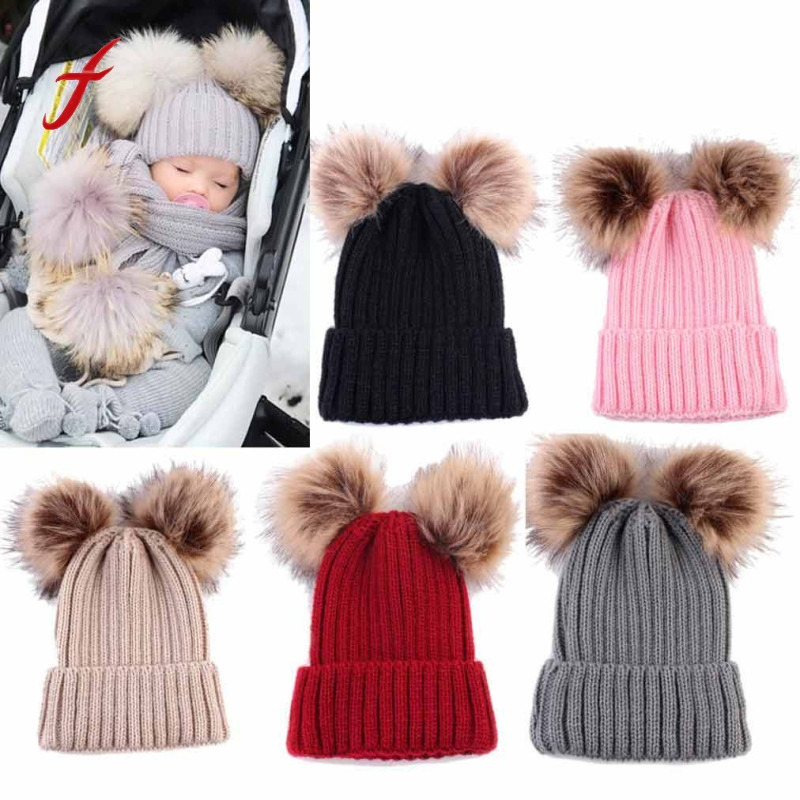 2017 fashion Newborn Cute Winter Kids Baby Hats Hairball winter hats for kinds girls boys kids Knitted Wool Hemming Hat