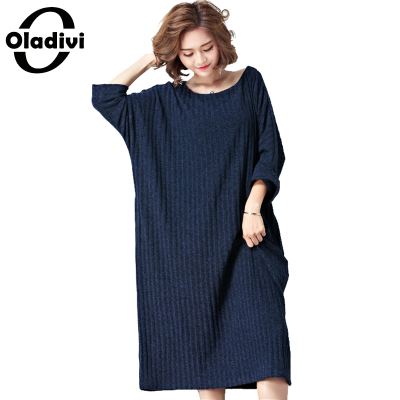 97c35476678 Oladivi Brand Oversized Plus Size Women Clothing Fashion Ladies Casual  Loose Dress Female Long Top Tee