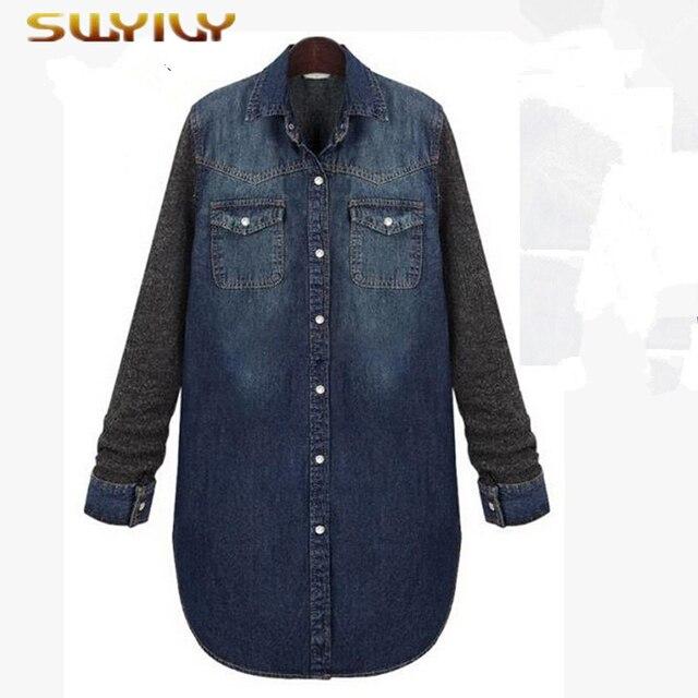 2ff0237fea62 Femmes grande taille longue Jeans chemise De Mode Long Cardigan à manches  longues Couture chemise en