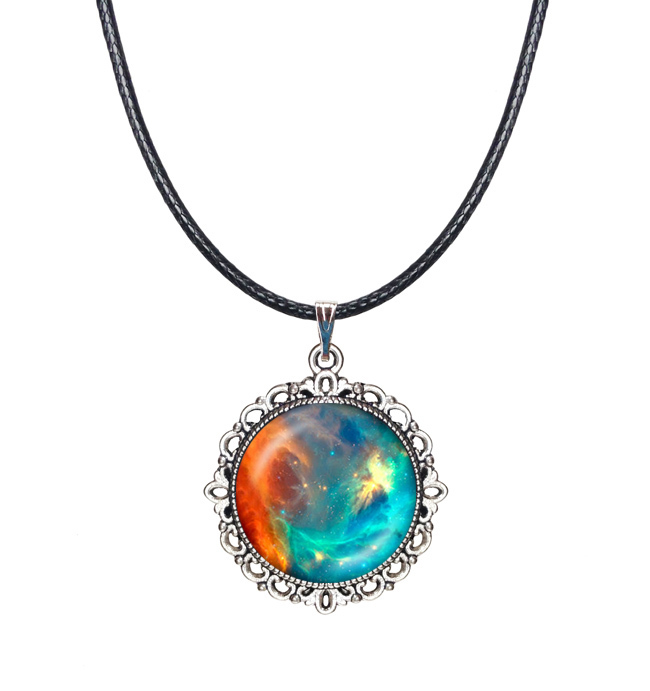 Gothic nebula necklace orange green space pendant galaxy for Zen culture jewelry reviews