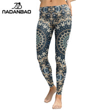 NADANBAO New Arrival 2018 Leggings Women Mandala Flower Digital Print Fitness Leggins Pants Elastic Workout Plus Size Legging