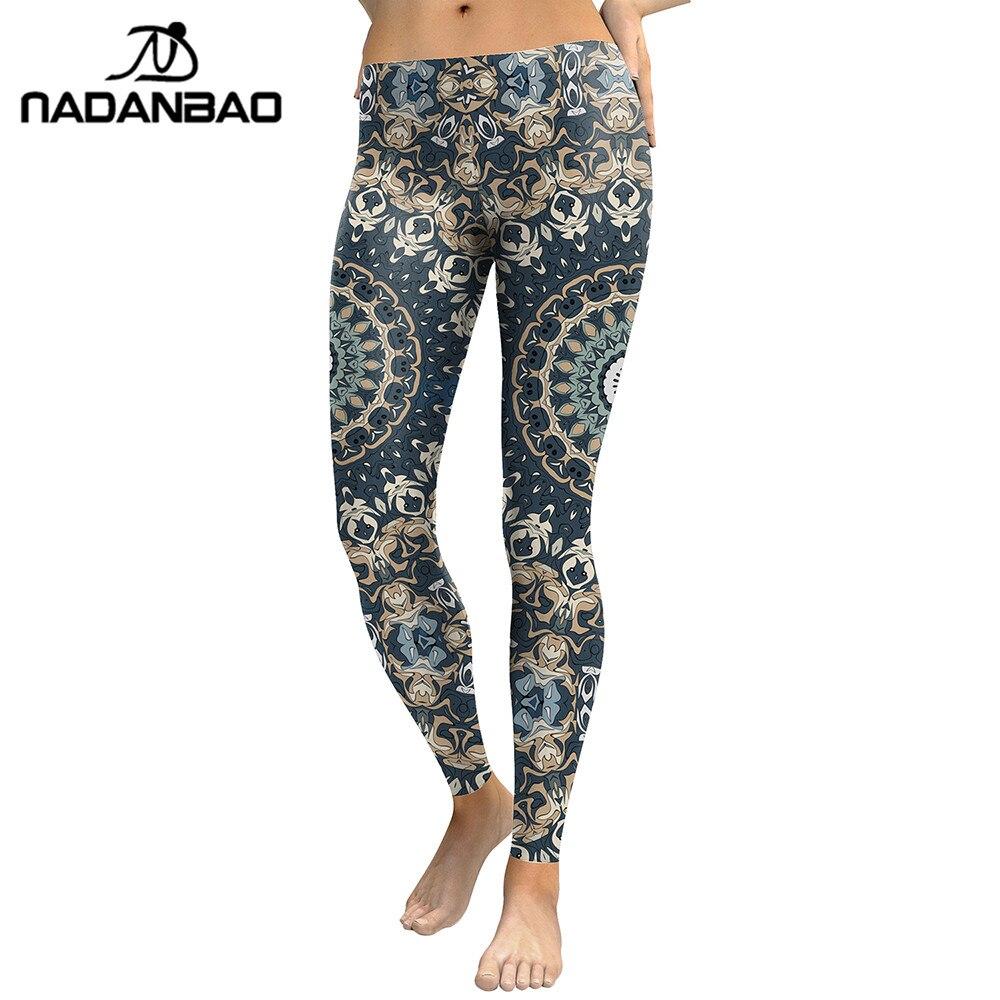 NADANBAO New Arrival 2019 Leggings Women Mandala Flower Digital Print Fitness Leggins Pants Elastic Workout Plus Size Legging