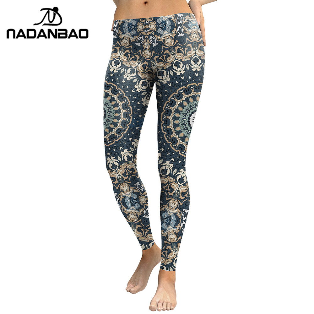 NADANBAO New Arrival 2019   Leggings   Women Mandala Flower Digital Print Fitness Leggins Pants Elastic Workout Plus Size   Legging