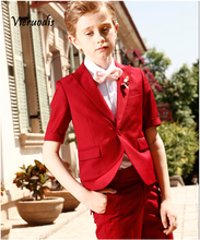 Red Suit with Short Sleeves Newest Boys Wedding Suits Kids Groom Tuxedos 2 Pcs