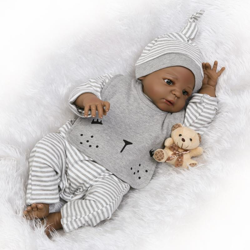 New Arrival 55cm Black Reborn Baby Doll with Full Vinyl Body lifelike Newborn Baby Boy Doll Collectible Dolls for Kids Xmas Gift victoria reborn baby boy dolls 22 full vinyl body doll new fashion 55cm lifelike lovely doll in blue clothes reborn baby doll