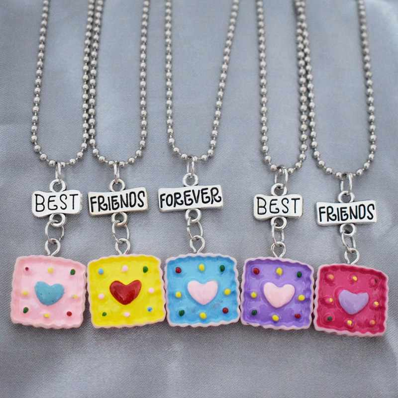 Resin Simulated Heart Cake Bff Pendant Necklace Children Best Friends Forever 5 Girls Kids Friendship Jewelry Birthday Gift Aliexpress