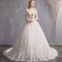 FOLOBE Luxury Boat Neck Beading Lace A-line Wedding Dresses