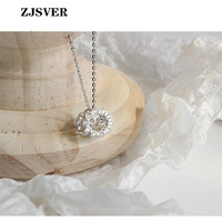 ZJSVER Fine Jewelry 925 Sterling Silver Necklace Micro inlaid Crystal Zircon Round Pendant Simple Silver Chain Women Necklace