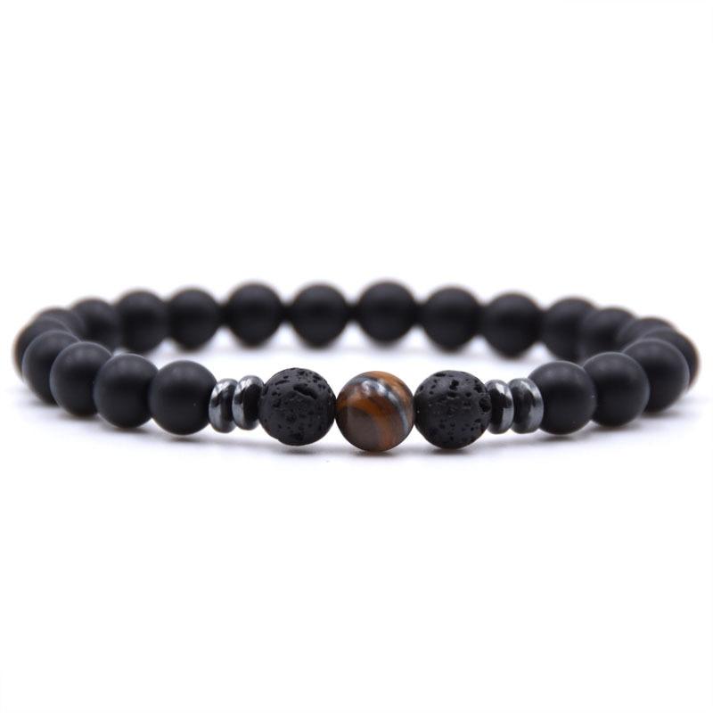 Wholesale Black Lava Stone Beads charm punk Bracelet Tiger Eye Beads Bracelet Stretch Yoga Jewelry Pulseras dropshipping