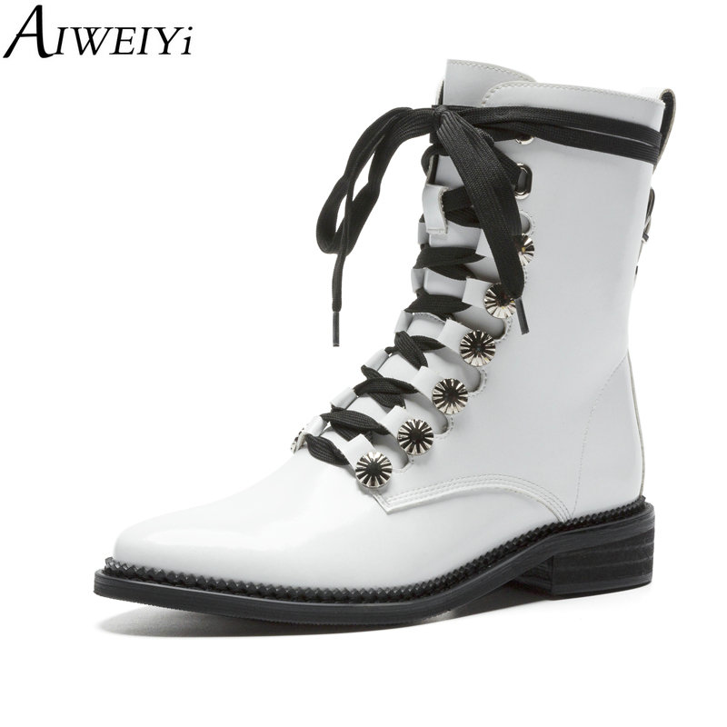 AIWEIYi Black Martin Boots for Women Thick Heels Low Heels Lace Up Platform Shoes Woman Autumn Winter Motorcycle BootiesAIWEIYi Black Martin Boots for Women Thick Heels Low Heels Lace Up Platform Shoes Woman Autumn Winter Motorcycle Booties