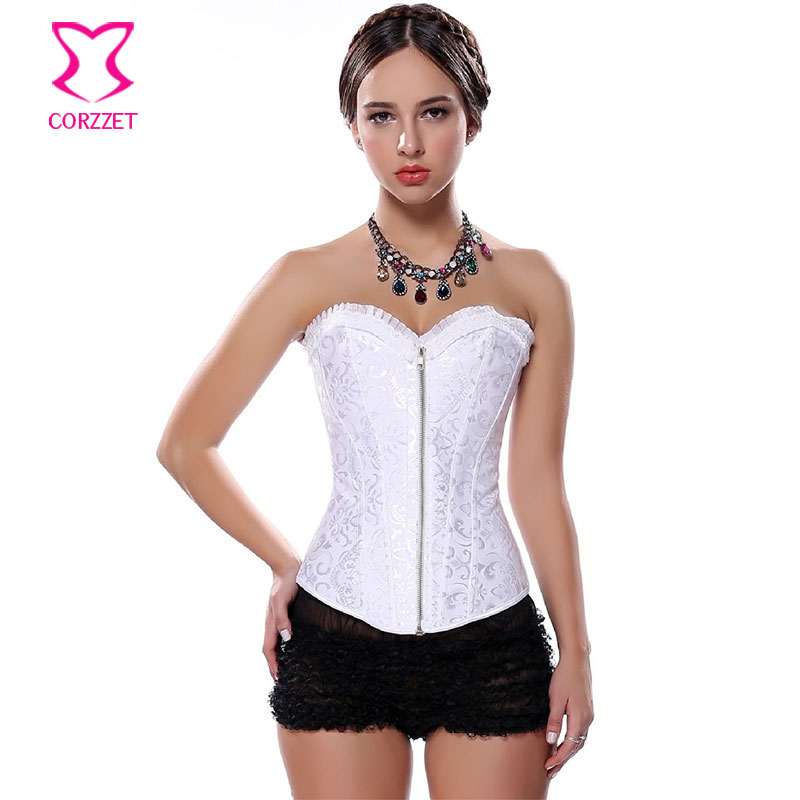 Corzzet Sexy Lingerie Steel   Bustiers   White Zipper Embroidered   Corset   Overbust   Corsets   and Waist slimming Plus Size For Women