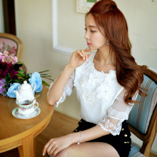 dabuwawa shirts women 2016 summer comfortable casual stereo flowers white blouse women pink doll
