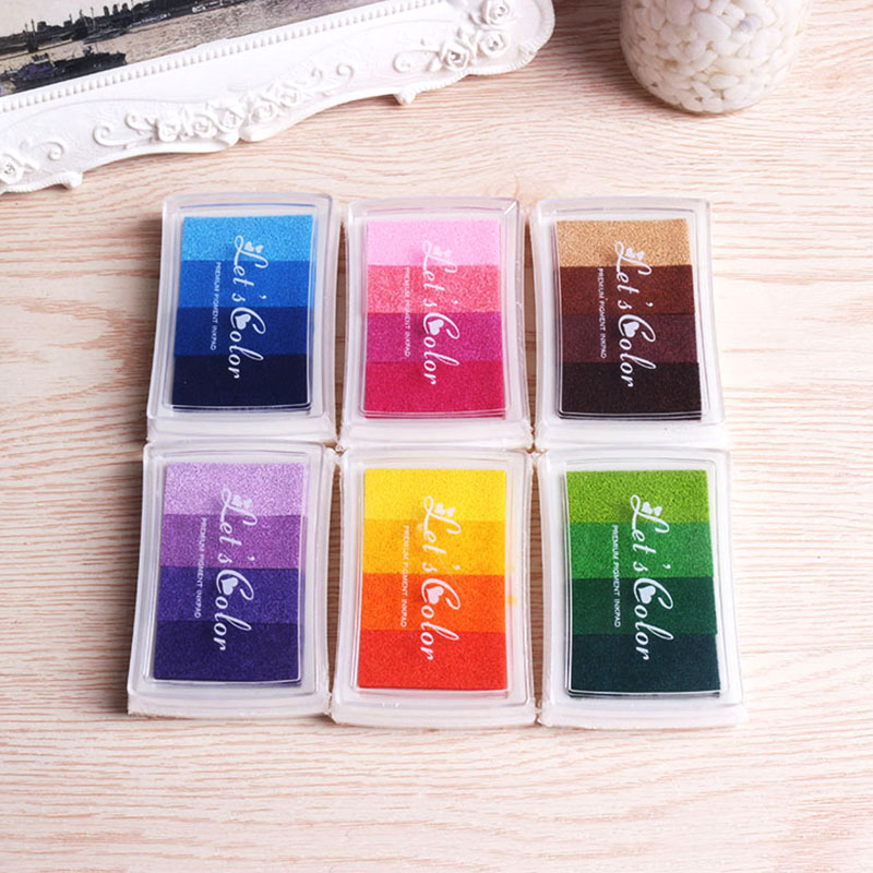 1Pcs New DIY Gradient Ink Pad Multicolor Ink Stamp Decoration Fingerprint Scraping Tool 6 Color