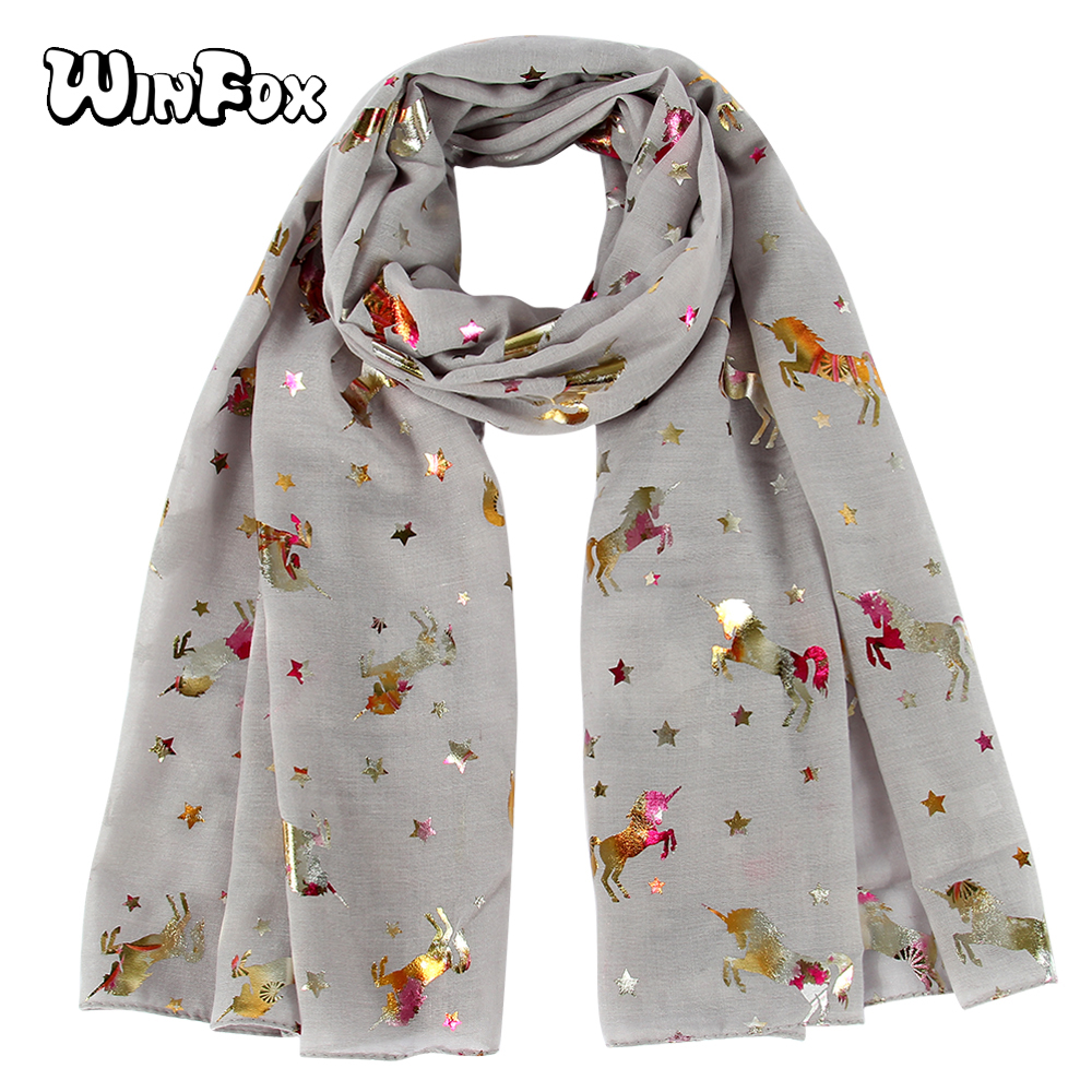 Winfox Luxury Shiny Grey Navy Bronzing Foil Silver Horse Star Women Chiffon Shawl Polyester Female Ladies   Scarf     Wraps