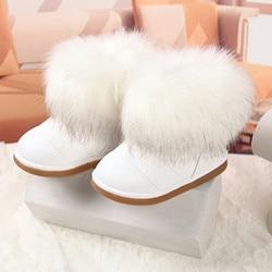 Brand Children Shoes Girls Snow Boots Winter Baby Girl Fashion Fox Fur Shoes Gilrs Platform Winter Boots Girls Footwear