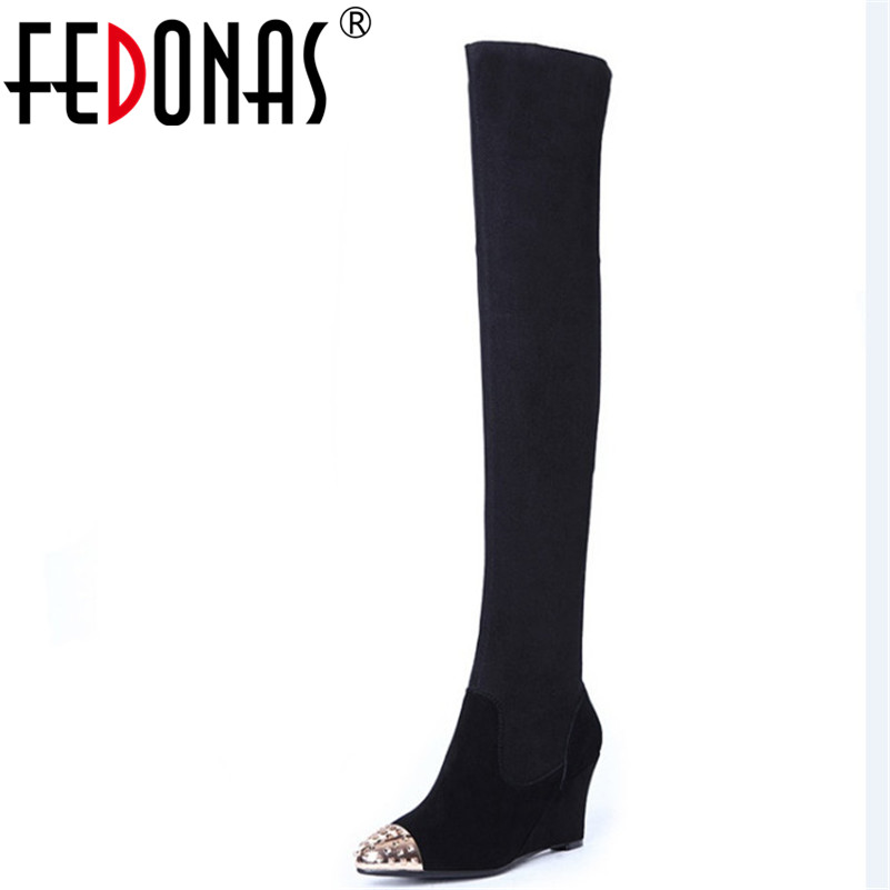 FEDONAS Brand Women Over The Knee High Boots Wedges High Heels Long Warm Winter Shoes Woman Slim Party Wedding Rivets Boots FEDONAS Brand Women Over The Knee High Boots Wedges High Heels Long Warm Winter Shoes Woman Slim Party Wedding Rivets Boots