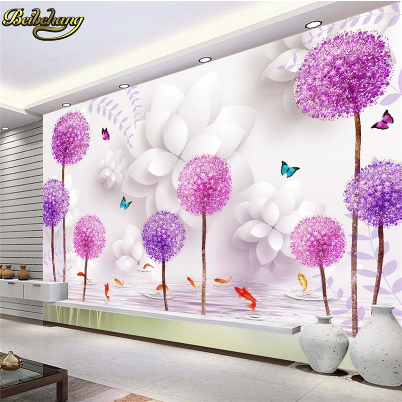beibehang custom Flower dandelion reflection Landscape wall paper Painting Living Room Background Canvas wallpaper for walls 3 d
