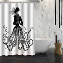 Hot Sale Custom Octopus Shower Curtain Waterproof Fabric For Bathroom FY1