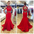 New Arrival Red High Neck Two Piece Long Prom Dresses 2016 Satin Beading Open Back Floor Length Mermaid Prom Dress SML30904