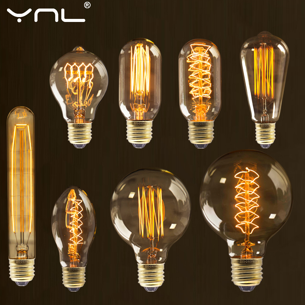 Retro Vintage Edison Bulb E27 40w 220v Ampoule Vintage Bulb Edison Lamp Filament Incandescent Light Bulb Retro Lamp Indoor Decor