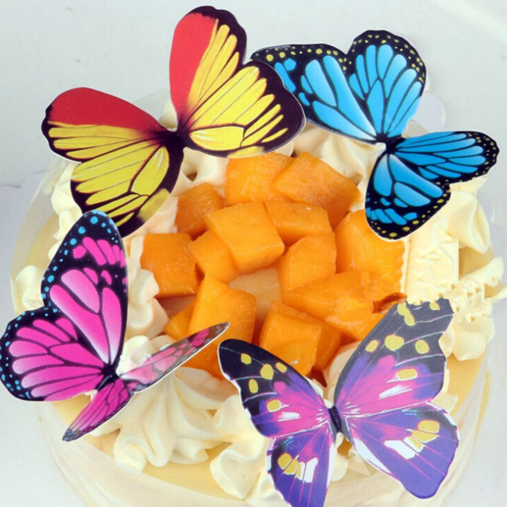 50 Pcs/set 6.5*5cm Paper Butterfly Wedding Cake Topper/Wedding Cake Stand/Wedding Decoration/Cake Decorating Supplies