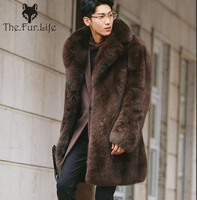 2018 Fashion Whole Skin Grey Fox Fur Coat For Men's Thick Male Natural High Quality Fox Fur Jackets Warm Winter Wholesale New
