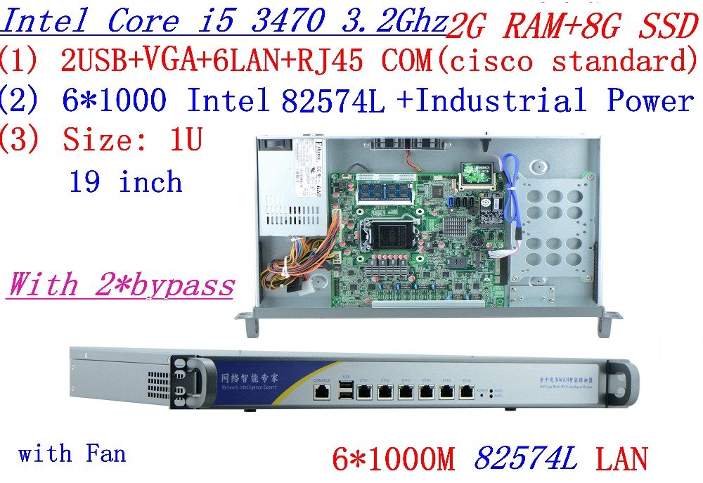 1U Firewall Server 2*bypass 2G RAM 8G SSD With 6*1000M 82574L Gigabit Core I5 3470 3.2G Support ROS Mikrotik Panabit Wayos Etc