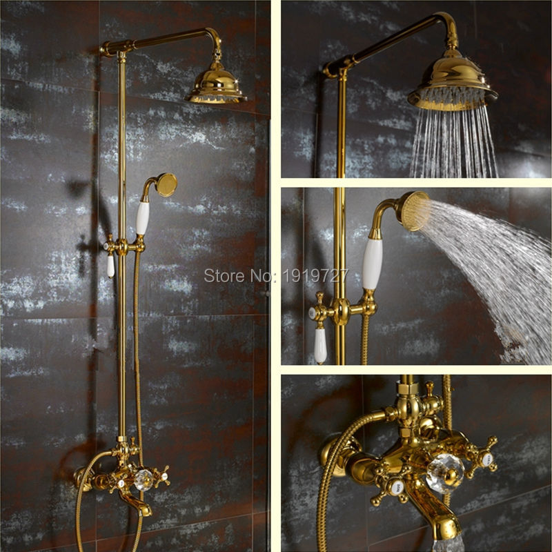 Shower Hot And Cold Valve.Us 359 89 10 Off Waterfall Gold Shower System With Exposed Hot Cold Valve Shower Head Hand Shower Diverter 24