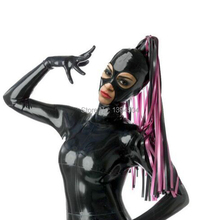 Women 100% Natural Latex Hood with Pigtail Custom-made Sexy Rubber Mask Braid Fetish Charming open eyes&mouth Sex
