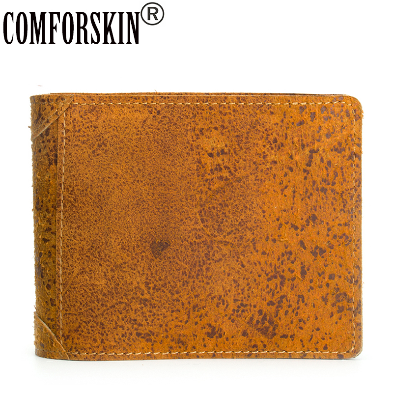 COMFORSKIN Men Wallets Luxurious 100% Genuine Crazy Horse Leather Short Retro Hand-made Male Purse Coin Purses Card Holder 2018 brand double zipper genuine leather men wallets with phone bag vintage long clutch male purses large capacity new men s wallets