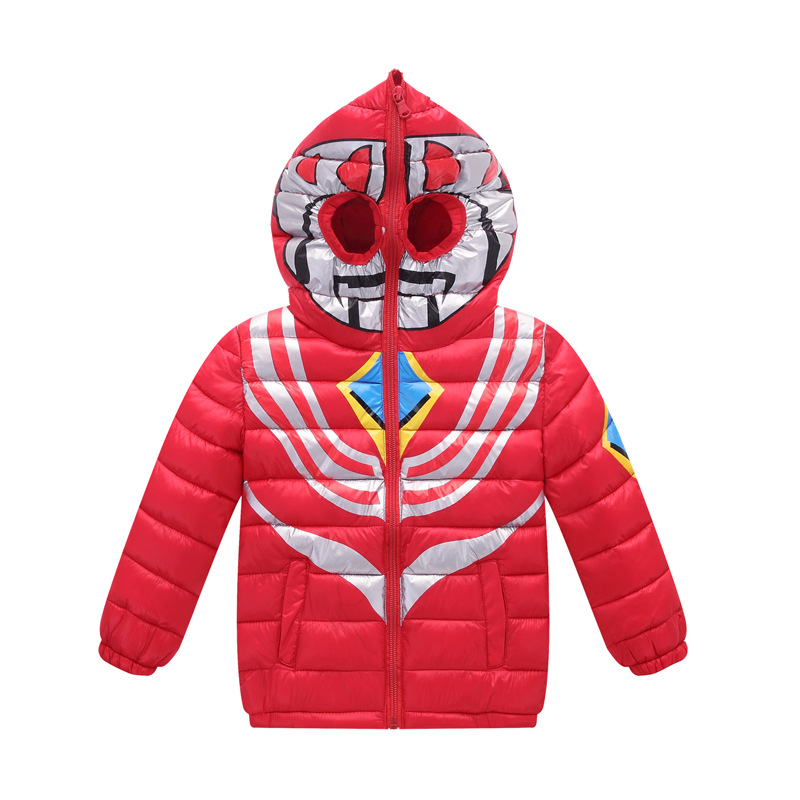 New Winter Cotton-padded Jacket for Children  Child Baby Boy Hooded Cartoon Ultraman Cotton Coat Children's Christmas Clothing  free shipping winter new children s wear patch splicing shoulder button boy cotton padded clothes child quilted jacket