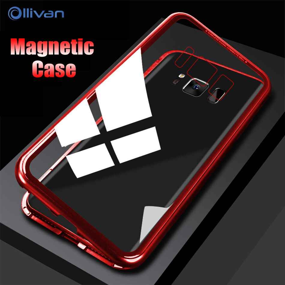 save off 42ae2 37e4f Magnetic Adsorption Metal Tempered Glass Case For Samsung Galaxy S7 Magnet  Flip Cover For Samsung Note 8 9 S9 S8 Plus S7 edge