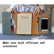 A5 planner notebook 2020 bloco de notas, 6 anéis, organizador de papelaria, recarga, jornal, agenda executiva, escritório multifunção