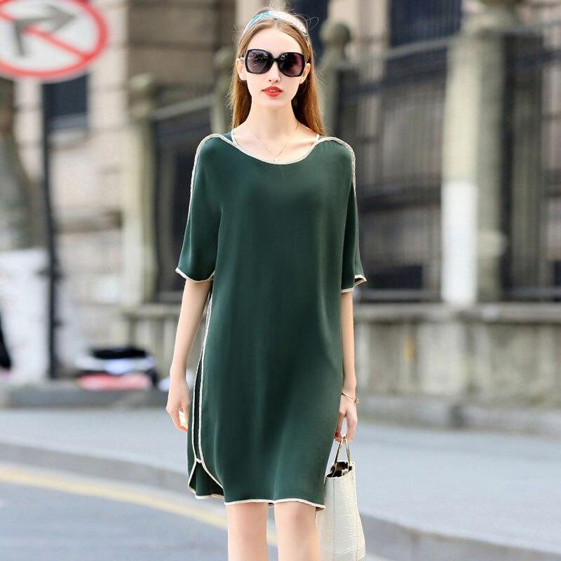 Donne del Vestito di alta Qualità 100% Di Seta Pesante di Disegno Semplice O Collo mezze Maniche 3 Colori Taglie Etero Dress New Fashion 2018