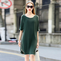 High Quality Dress Women 100% Heavy Silk Simple Design O Neck Half Sleeves 3 Colors Plus Sizes Straight Dress New Fashion 2018