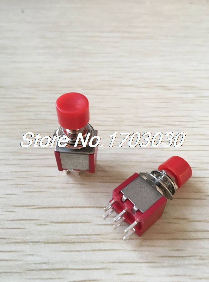 5 Pcs x AC 2A/250V 5A/120V 6 Pin SPDT Momentary Push Button Switch 6mm 2 NO 2 NC 5 pcs ac 250v 10a spdt 1no 1nc 3 pin black red hot wind control button rocker switch for hair dryer
