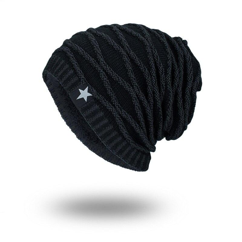 Men's Autumn Winter Hat Knitted Black Hats Keep Warm Bonnet   Skullies     Beanies   Cotton Cap