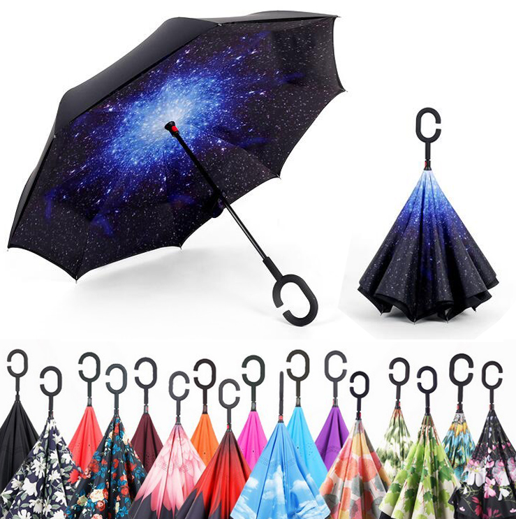 Windproof Reverse Folding Double Layer Inverted Umbrella Self Stand umbrella rain/<font><b>sun</b></font> women/men high quality 2018 flowe durable image