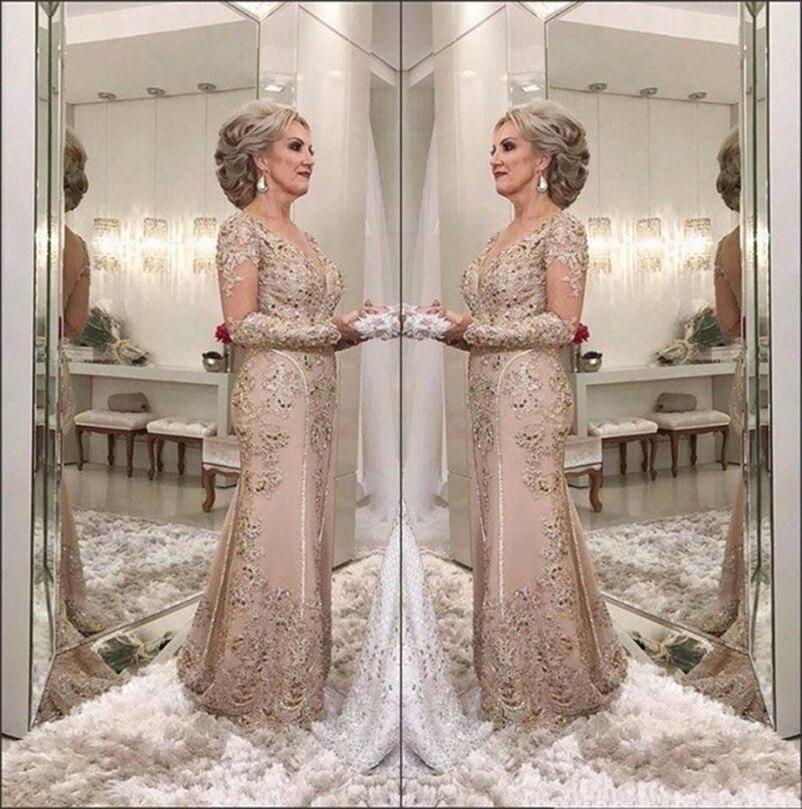 Lakshmigown 2019 Роскошные Мать невесты платья V шеи Иллюзия одежда с длинным рукавом с юбкой годе украшенное кристаллами бисером вечерние вечерне