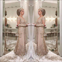 lakshmigown 2018 Luxury Mother Of The Bride Dresses V Neck Illusion Long Sleeves Crystal Beaded Mermaid Party Evening Wedding
