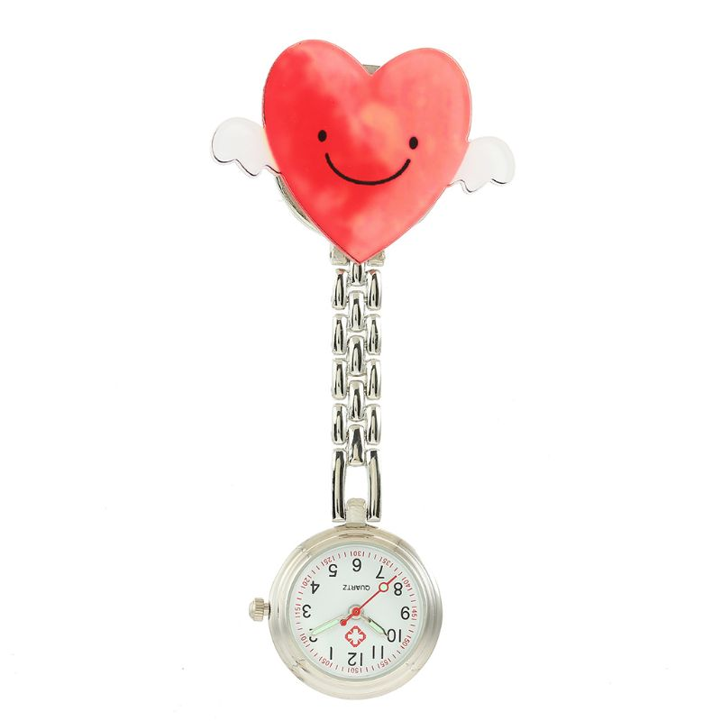 Nurse Watch Cartoon Medical Watches Heart Shape Pendant Acrylic Chest Pocket Watch Silver Fashion Round Women Girls Angel Gifts