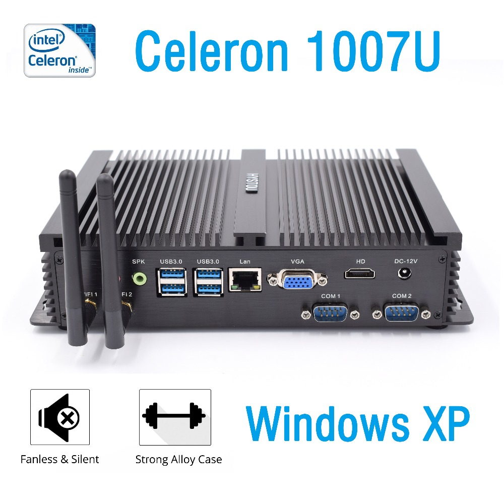 Windows XP intel celeron 1007u industrial mini pc 1 5GHz 2RS232 COM port nettop hdmi vga