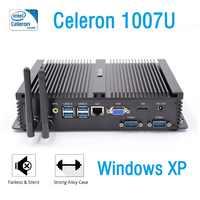 Мини ПК промышленный Windows XP intel celeron 1007u 2RS232 COM порт неттоп HDMI VGA дешевый безвентиляторный настольный компьютер Linux