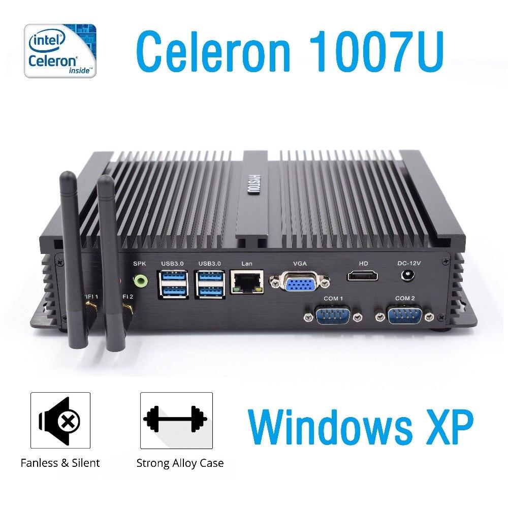 Mini pc industrial Windows XP intel celeron 1007u 2RS232 COM port nettop HDMI VGA cheap fanless desktop protable computer Linux